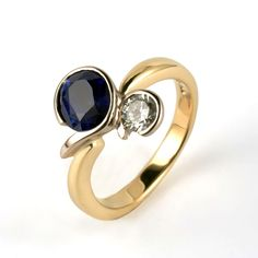 yellow and white gold ring set with a diamond and Sri Lankan sapphire by AImee Winstone Designer Engagement Rings, Gold Engagement Rings, Engagement Ring Settings, Wedding Rings, White Gold Rings, Ring Designs, Blue Sapphire, Jewelery, Diamond