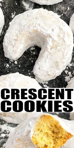 ALMOND CRESCIENT COOKIES RECIPE- Classic, old fashioned, buttery, rich, tender, easy almond Vanillekipferl, homemade with simple ingredients. Dusted with powdered sugar and results in a beautiful Christmas cookie. Also known as vanilla crescents or almond crescents or Kipferl or moon shaped cookies. From CakeWhiz.com Easy Cookie Recipes, Best Dessert Recipes, Fun Desserts, Holiday Recipes, Baking Recipes, Delicious Desserts, Pillsbury Recipes, Sweets Recipes, Baking Ideas