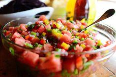 Watermelon pico de gallo via the Pioneer Woman. Must try tomorrow. Watermelon pico de gallo via the Pioneer Woman. Must try tomorrow. Salsa Guacamole, Watermelon Salsa, Salsa Salsa, Fresh Salsa, Fresh Fruit, Tasty Kitchen, Salsa Fresca, Appetizer Recipes, Appetizers