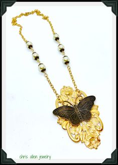 Gold double floral base with a white patina and a Brass Ox butterfly. Neckline has gorgeous 'Bridal' pearls and Brass Ox bead caps. Leaf Necklace, Necklace Set, Necklace Lengths, Gold Necklace, Glass Gemstone, Filigree Ring, Bead Caps, Ox, Gold Chains