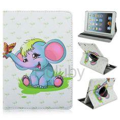 360 Rotatable Elastic Belt Side Flip PC+ PU Leather Case for iPad Mini 3 iPad Mini 2 Retina iPad Mini - Happy Elephant