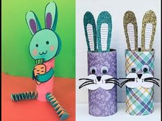 """This is a simple lesson for kids. They can learn how to make """"Cute Rabbit"""" with the simple things: paper core, oval, rectangle, circle...  You can teach your kids to make """"Cute Rabbit"""", it's very simple. Try it!"""