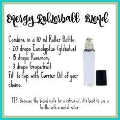 Essential Oil Energy Roller Blend Recipe | Young Living Essential Oils Oils For Energy, Diluting Essential Oils, Essential Oils Energy, Natural Essential Oils, Essential Oil Diffuser, Essential Oil Blends, Essential Oil Inhaler, Doterra Diffuser, Young Living Energy