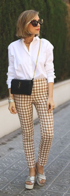 Camel Gingham Pants Outfit Idea by My Showroom Blog