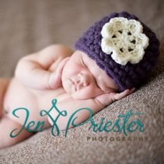 Petite Purple Baby Beanie from Melondipity.com. Beautiful Handmade chrochet baby hat made right here in the US. Price: $35.99