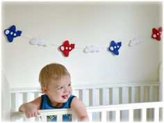 Airplanes and clouds bunting/ banner/ garland  by Lullaby Mobiles