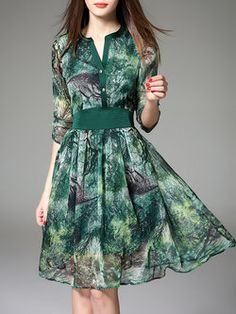 Green Floral Polyester Elegant V Neck Midi Dress