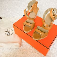 NIB Hermes Giorno Wedges Sandals Sz 6 Hermes wedges new with box and dust bags, size 6 Hermes Shoes Wedges