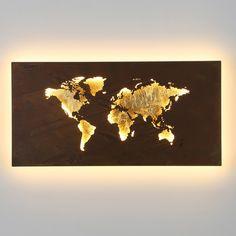 Applique a LED Linda design mappa, cm di Wofi Led Wall Lamp, Led Wall Lights, Feuille D'or, Applique Led, Lighting Concepts, Map Design, Led Lampe, White Light, Gold Leaf