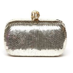 ALEXANDER MCQUEEN Clutch in pailletes con teschio dorato (1 559 AUD) ❤ liked on Polyvore featuring bags, handbags, clutches, alexander mcqueen purse, alexander mcqueen handbags, alexander mcqueen and alexander mcqueen clutches