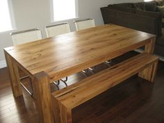 Reclaimed White Oak Dining Tbale and Bench