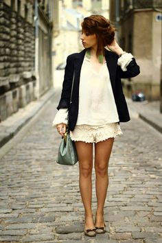 perfect look with lace shorts & messy updo!