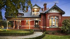 Edwardian house Australia built Featuring red brick and timber fretwork. Edwardian Architecture, Australian Architecture, Residential Architecture, Brick Facade, Facade House, House Facades, Edwardian House, Victorian Homes, Australia House