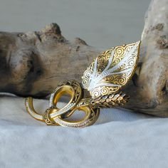 Vintage Damascene Pine Cone and Leaf Brooch marked Spain