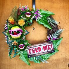 Items similar to Little Shop of Horrors Audrey 2 Wreath Large Feed Me Seymour Venus Flytrap for Halloween Christmas on Etsy Outdoor Halloween, Holidays Halloween, Halloween Themes, Halloween Crafts, Happy Halloween, Halloween Wreaths, Halloween Witches, Halloween Stuff, Horror Crafts
