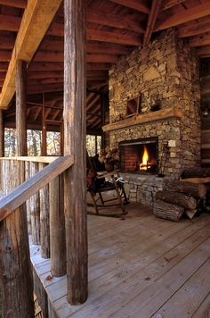 Wonderful outdoor fireplace.