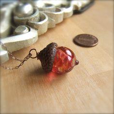 Glass+Acorn+Necklace++Raspberry+Peach+by+by+bullseyebeads+on+Etsy,+$22.00