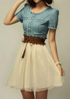 Denim Splicing Dress With Belt