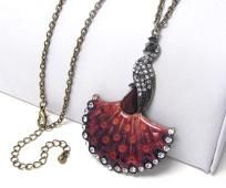 Peacock Crystal Bergundy epoxy long necklace $12.00