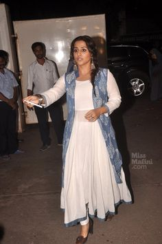 One of Vidya Balan's best looks recently, we think light colours did the tick! Take a look. Anarkali Dress, Pakistani Dresses, Indian Dresses, Indian Outfits, Indian Attire, Kurta Designs, Blouse Designs, Dress Designs, Shrug For Dresses