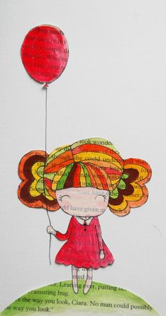 Items similar to SALE Go with Red Balloon Original Mixed Media Illustration on Etsy Balloon Illustration, Illustration Art, Book Page Art, Book Art, Red Balloon, Balloons, Newspaper Art, Button Art, Art Journal Pages