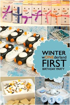 What's a cool theme for celebrating a first birthday? This little boy's Winter wONEderland 1st Birthday Party gets my vote!