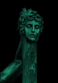 The Glitch Art of Italian Artist Giacomo Carmagnola Glitch Art, Dark Green Aesthetic, Statue, Carmagnola, Art, Aesthetic Wallpapers, Dark Art, Hogwarts Aesthetic, Italian Artist