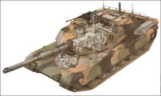 M1A1 Abrams cut out drawing.