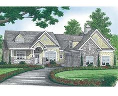 Coastal Home Plans   Love the Stone work and shingles in this pic.