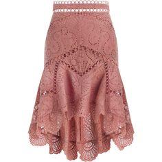 ZIMMERMANN Jasper Fan Skirt ($335) ❤ liked on Polyvore featuring skirts, bottoms, zipper skirt, knee length circle skirt, summer skirts, swim skirt and red skirt