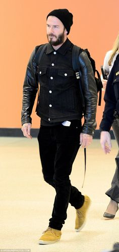 David Beckham shows off hipster style in a beanie, backpack and jacket #dailymail