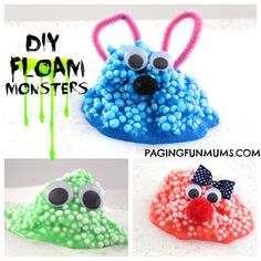 DIY 'Floam' Monsters! Super Sensory Fun! Check out our other fun activities for kids and things to make with kids: http://www.under5s.co.nz/shop/Articles/Activities.html