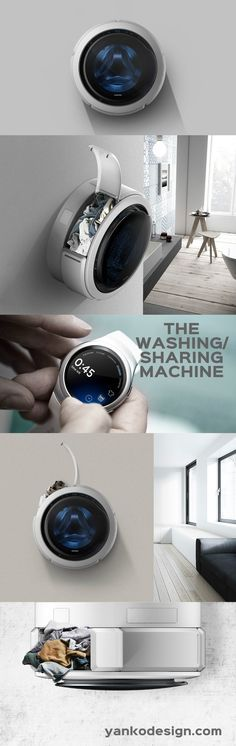The design of the machine is undoubtedly unique, bordering on iconic. Being a wall mounted design, the machine is perfectly circular. www.yankodesign.com