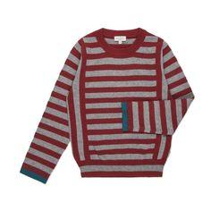 Paul Smith Junior | Boys' Burgundy And Grey Striped Sweater