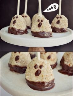 Chocolate-Covered Macaroon Ghost Pops - Fork and Beans