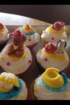 Baby shower firemen theme. All made from frosting and sugar.