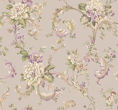 Arlington EL3956 Floral Scroll Wallpaper - indoorwallpaper.com