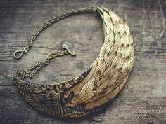 Statement necklace Bib necklace gold necklace gold leaf necklace polymer clay necklace Large gold necklace by ZaiZaiJewelry on Etsy https://www.etsy.com/listing/454542684/statement-necklace-bib-necklace-gold