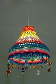 Learn the rudiments of how to cr Lampe Crochet, Crochet Lampshade, Paper Lampshade, Crochet Curtains, Lampshades, Crochet Designs, Crochet Patterns, Yarn Crafts, Diy Crafts