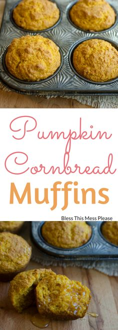 Healthy Recipes : Illustration Description Pumpkin Cornbread Muffins ~ Beautiful simple healthy pumpkin cornbread muffins are the perfect side to all your favorite soups and chilis. Pumpkin Recipes, Fall Recipes, Pumpkin Dishes, Summer Recipes, Muffins Blueberry, Almond Muffins, Zucchini Muffins, Cornbread Muffins, Pumpkin Cornbread Recipe
