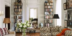 Extra tall bookshelves double as decor in this Upper West Side living room. French Country Living Room, Modern Country, French Country Decorating, Country Style, Country French, Bedroom Walls, Home Decor Bedroom, Art Walls, Bedroom Sets