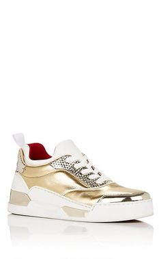 1a566305caf2 Christian Louboutin Aurelien Donna Flat Mixed-Material Sneakers Gold  Leather