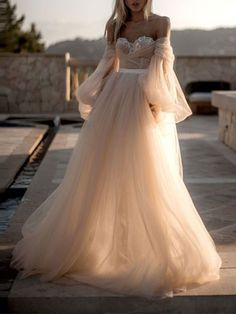 Evening dresses for weddings - Sexy One Word Collar Mesh Bubble Sleeve Wedding Evening Dresses – Evening dresses for weddings Western Wedding Dresses, Evening Dresses For Weddings, Best Wedding Dresses, Bridal Dresses, Wedding Gowns, Bridesmaid Dresses, Prom Dresses, Evening Maxi Dresses, Formal Dresses