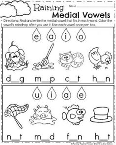 April Kindergarten Worksheets for Spring - Medial Vowels