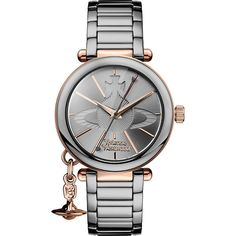 Vivienne Westwood VV067SLTI kensington rose gold-plated and gunmetal... ($410) ❤ liked on Polyvore featuring jewelry, bracelets, charm jewelry, stainless steel jewelry, vivienne westwood jewellery, vivienne westwood and gun metal jewelry