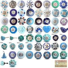 wrong size but pattern inspiration  Blue purple turquoise ceramic knobs drawer pulls cupboard door knobs in Home, Furniture & DIY, Home Decor, Door Accessories/ Furniture | eBay
