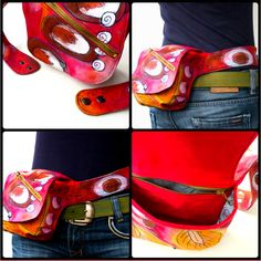 Sew a Belted Hip Bag - PDF Pattern + Free Fabric Painting Lesson #sewing