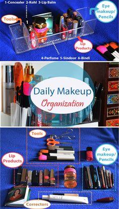 Organize your daily makeup essentials Lip Pencil, My Essentials, Makeup Essentials, Daily Makeup, Lip Makeup, Bindi, Makeup Organization, Lip Balm