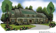 This House Plan offers plenty of space for comfortable living.  The master suite is quite large with a sitting room, tray ceiling, deep walk-in closet, and large master bath.  The main rooms are large and open, featuring arches between rooms with tray and vaulted ceilings.  All other bedrooms are on the upper floor leaving the main floor a great entertaining area.  With an unfinished basement, this house has a potential of over 5,000 sq. ft. living space.  See also plan