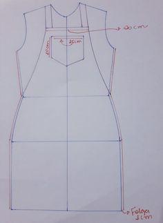 Sihblog - Modelagem e Costura - MOLDE JARDINEIRA SIMPLES Bodice Pattern, Pants Pattern, Top Pattern, Fashion Sewing, Kids Fashion, Fashion Outfits, Dress Sewing Patterns, Clothing Patterns, Sewing Collars